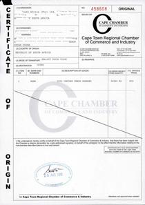 集果轩水果CAPE CHAMBER 证书