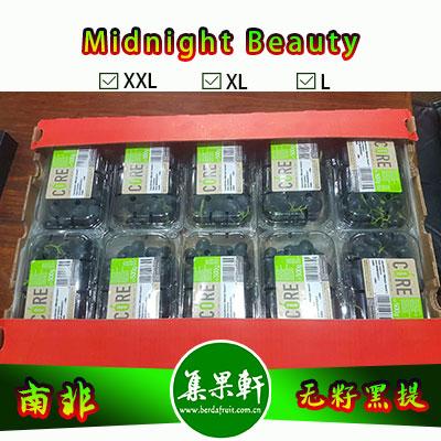 南非进口盒装无籽黑提批发Midnight Beauty/甜十三/午夜美人货源供应,Core牌盒装黑葡萄,盒装便捷、超市、礼盒、水果店热卖款,重量4.5公斤