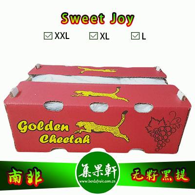 南非进口无籽黑提批发Sweet Joy甜蜜葡萄品种,金豹鲜果牌,重量原装9斤,规格XL,一级进口货源,供应时间短暂,批发价格优惠